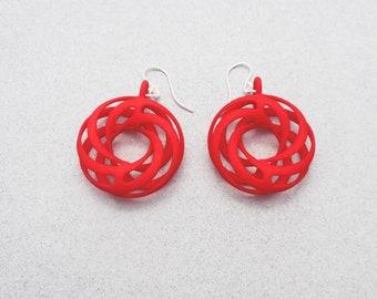 Twisted Torus - Red 3D Printed Earrings | 3D Printed Jewelry