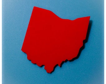 Ohio Pin Brooch in Red Laser Cut Acrylic Plastic - State Shape Pin