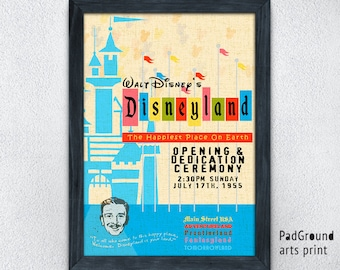 Disneyland Poster, Disney Print, Opening Poster, Vintage, Fantasyland, Adventureland, Home Decor, Wall Decor, Party Decor, Gift, Frame -25pg