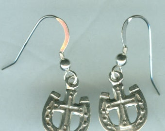 Sterling Silver WESTERN CROSS  Earrings -- French Earwires - Equestrian, Horse, Luck