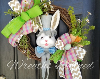 Easter Bunny Wreath, Easter Wreath for Front Door, White Bunny Wreath, Carrot Wreath, Easter Egg Wreath, Easter Bunny Grapevine Wreath