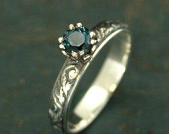 Blue Topaz Ring~London Blue Topaz~Birthstone Ring~Antique Style Ring~Vintage Style Ring~Vine and Leaf Ring~Something Blue~Gift for Her
