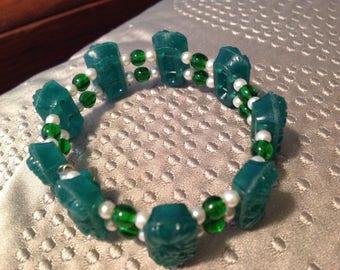 Vintage Green Plastic Pearl Stretch Bracelet