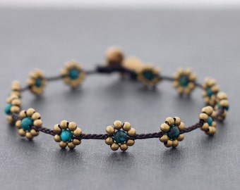 Bead Anklets Chrysocolla Flower Anklets Daisy Brass Beaded Folk Flower Woven Hippy Hipster Eco Friendly