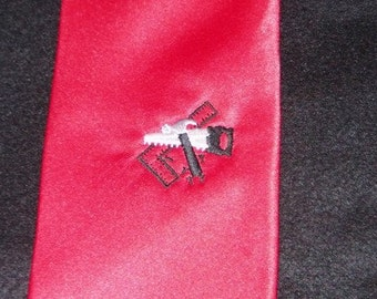 Clearance SALE TiE New Necktie Tools of the Trade Contractor's Tie Embroidered with Tools on Adult Sized RED tie