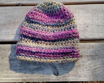 Multicolored Crochet Ribbed Slouchy Hat, Millbrook Slouch Hat, Ribbed Slouch Hat