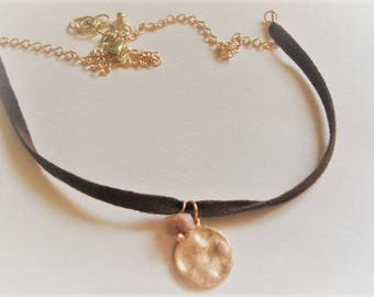 Suede Choker Necklace Gold Disc Necklace Chain Choker Necklace Jewelry Boho Necklace