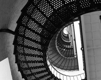 Industrial Wall Decor, Round Staircase Print, Black and White Photography