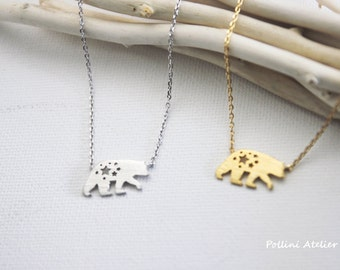 Polar Bear Necklace in Silver/ Gold. Animal Necklace.  Cute Necklace. Collarbone Necklace. Sweet 16. Gift For Her (PNL-187)