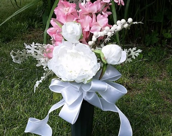 Cemetery flowers, Grave flowers, Artificial, Pink arrangements, Weather proof