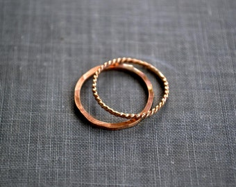 gold stacking rings set of two- skinny ring set, thin gold rings, delicate rings, dainty gold ring, simple textured ring, minimalistic rings