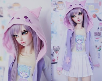Slim MSD Minifee or SD BJD hoodie shirt skirt set - Neko Girl