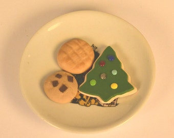 Christmas Cookie Plate for American Girl, My Life, My Generation, or other 18 inch doll- Cookies for Santa, food, kitchen, accessories