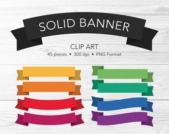 Solid Banner Clip Art -- 45 Pieces, Bright Ribbon, Flag Clip Art, Digital Scrapbook, Vector Clipart, PNG, Commercial Use, Instant Download