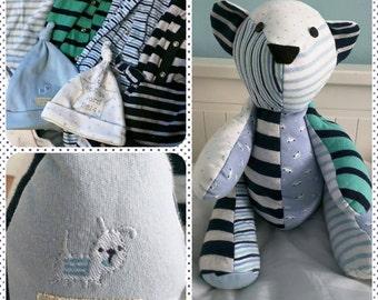 Memory keepsake bear made from baby clothes babygrows