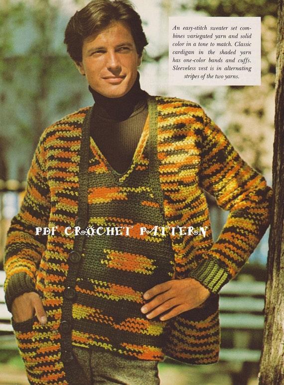 Crochet Mens Pullover Vest Cardigan Pattern Set Kc0564