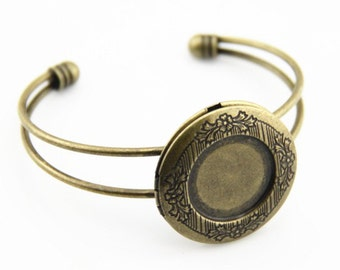 2 pcs of cuff bracelet with 32mm bronze locket can open 18mm cameo space-5526