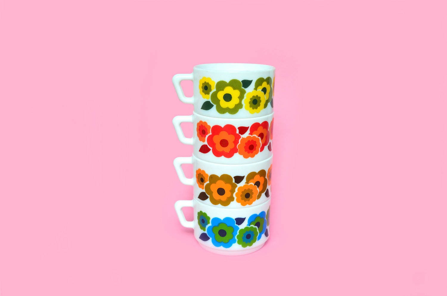 Arcopal Coffee Cups Set Floral Pattern France
