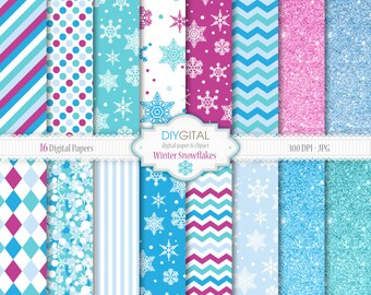 Winter Snowflakes- 16 blue and purple Digital Papers with snowflakes, polka dots, chevron, stripes, glitter backgrounds