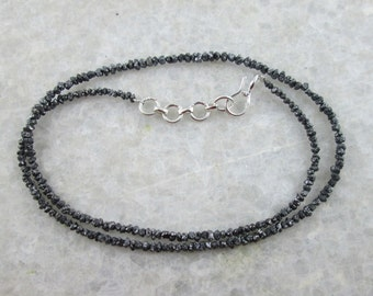21.00 Carats Natural Raw Rough Uncut Black Diamond Beads Necklace, Black Diamond Necklace with silver clasp