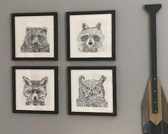 Party Animals Set of 4 Prints