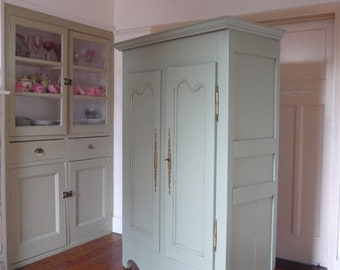 Petite Painted Antique French Armoire Wardrobe Linen Cupboard