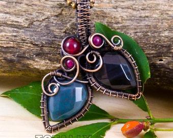 Trendy necklace, statement necklace, boho necklace, agate necklace, wrapped necklace, copper necklace