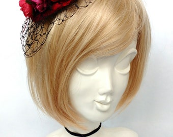Sale Ruby Rouge Red Fascinator Vintage Wedding Cocktail Hat with Netting OOAK Also Available in Purple and Lilac
