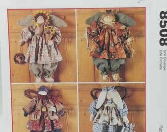 Mccalls Crafts 8508 Seasonal Angel Fabric Craft Patterns 20 inch Sunflower Angel, 21 inch scarecrow, 21 inch snowman,22 inch bunny angel