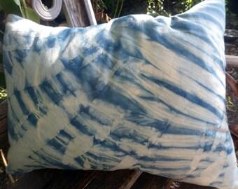 "Indigo Pillow Cover Shibori Design Indigo Blue and White Plant Dyed Pillow Cover 16"" x 22"" Natural Dye Fully Lined Indigo Throw Pillow Cover"