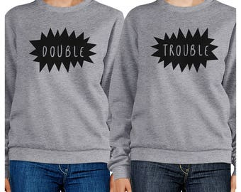 Double Trouble Graphic Heather Grey Sweatshirts Set [FSS038HG]