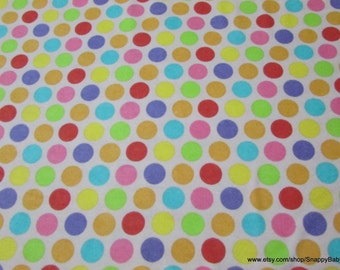 Flannel Fabric - Dots Multi - By the yard - 100% Cotton Flannel