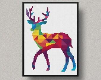 Deer Cross Stitch Pattern, Geometric Animal Xstitch, Embroidery Instant Download, Cross Stitch Chart, Modern Cross Stitch, Color, Animal