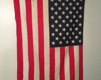 Vintage American Flag and Pole