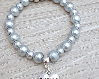 Diabetic Silver Beaded Stretch Charm Bracelet Type 1 Type 2 Diabetic Bracelet, Medical Bracelet, Silver Beaded Bracelet