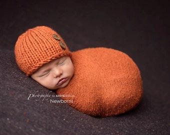 Newborn Pumpkin Hat, Baby Pumpkin Hat Knit Baby Hat Newborn Boy Hat Newborn Photo Prop Boy Newborn Props Boy Knit Newborn Hat Newborn Beanie