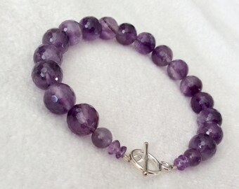 Handmade Faceted Amethyst bracelet with Sterling Silver toggle
