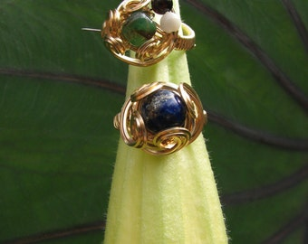 Lapis Lazuli and Gold Filled Wire Wrapped Ring
