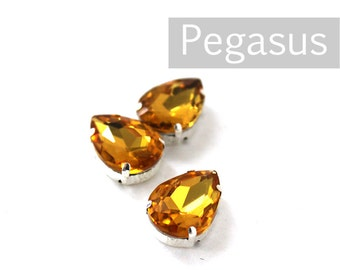 Citrine Yellow Glass crystal tear drop gems (9 color options) flatback jewel for costume jewelry,elven cosplay,wedding favors,dragon larp