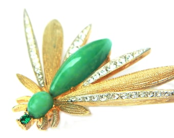 Wasp Bee Insect Pin 10K Gold Jade Green Glass Rhinestone Sparkle Brooch Jewelry Vintage Midcentury Gold Overlay Clear Green Gift For Her