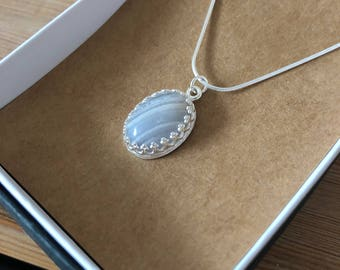 Blue Lace Agate Sterling Silver Necklace, Blue Lace Agate Jewellery, Blue Lace Agate