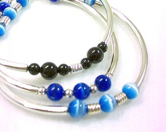 Silver Tube Bangle Stack Bracelets Set of Three, Mystical Blue Glass Beads, Black Jade Jewelry, Handmade Beaded Layering Bracelets Bracelets