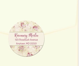 Personalized Address Labels / Shabby Vintage Roses / Floral Pattern / Return Address Label / Envelope Seals / Wedding Labels / Thank You