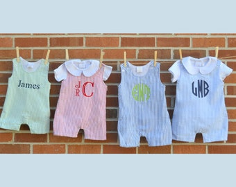 Baby boy summer outfit, baby boy jon jon, seersucker shortall, boy beach outfit, boy baby gift, toddler outfit, toddler romper, seersucker