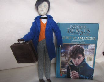 Newt Scamander doll fabric, Fantastic Beasts doll gift, Decor doll Newt Scamander, OOAK Newt Scamander doll, Fantastic Beasts doll gift