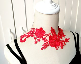 red lace necklace / statement  necklace // silver charm beaded // large floral leaves vintage bib necklace / gift for her
