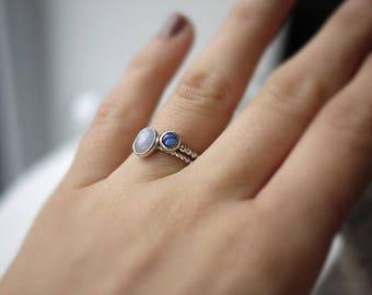 Labradorite ridged sterling silver ring 5mm