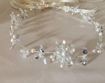 Freshwater pearl rhinestone and crystal halo circlet with Ivory ribbon
