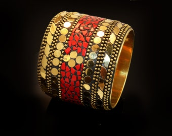 Tribal Bracelet,Gold Cuff ,Wide red coral gold Bangle cuff,Mosaic STATEMENT Cuff  Afghan ethnic jewelry,bedouin Gypsy,Bohemian,Boho Jewelry