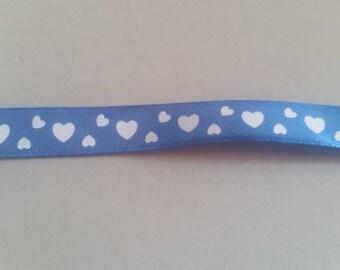 Blue - satin ribbon and white hearts - 12 mm